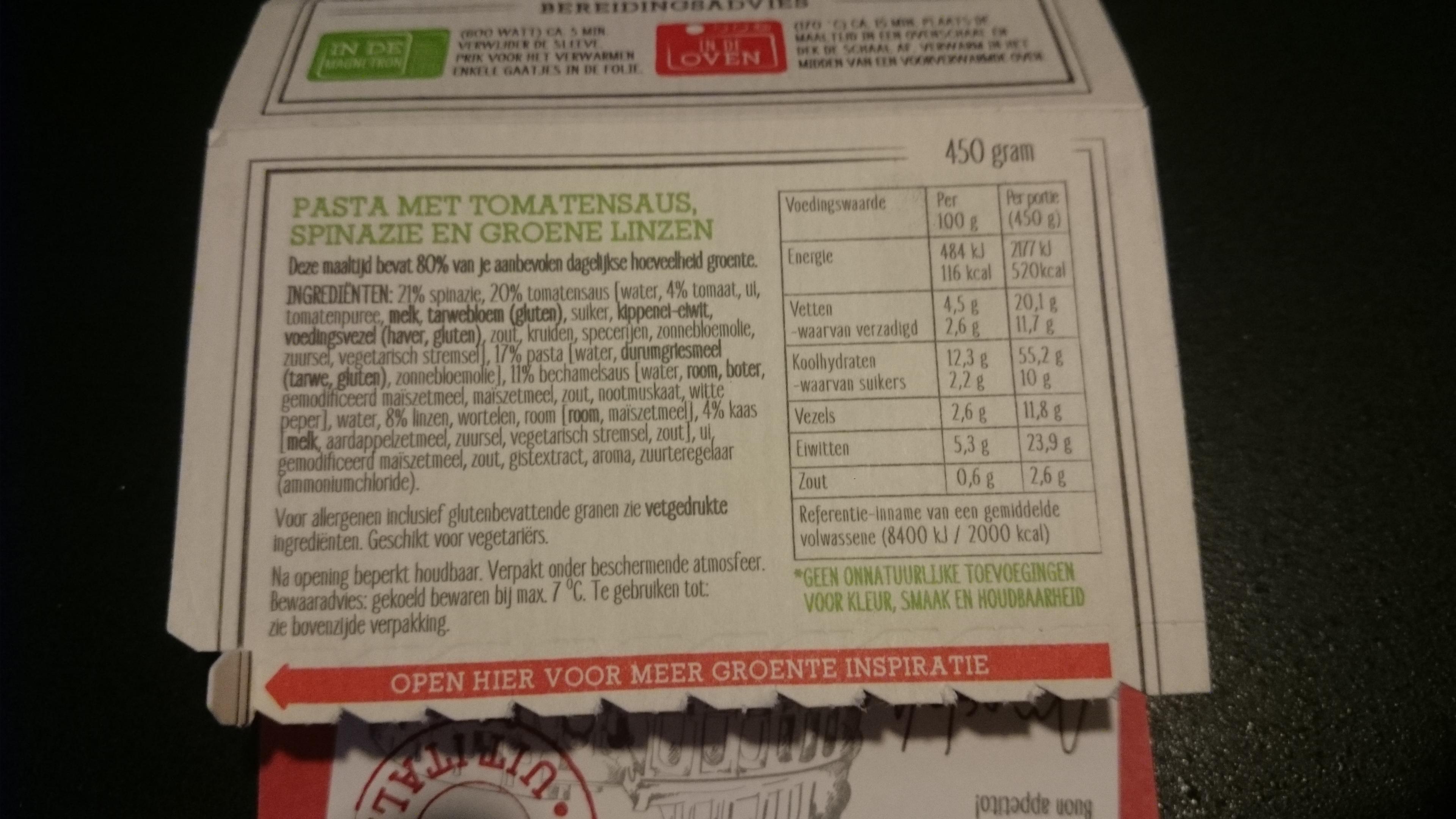 Ingrediententabel pasta bolognese samhoud