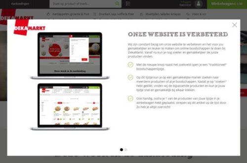 Bij een eerste bezoek krijgen bezoekers van de website een pop up te zien met de melding dat de webwinkel is verbeterd.